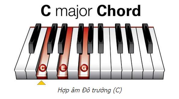 Hợp âm trên đàn piano đô trưởng có ký hiệu là C, gồm 3 nốt là Đô – Mi – Sol