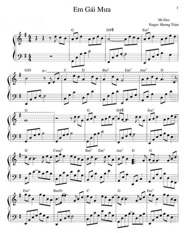 """Sheet nhạc piano bài hát """"Em gái mưa"""""""