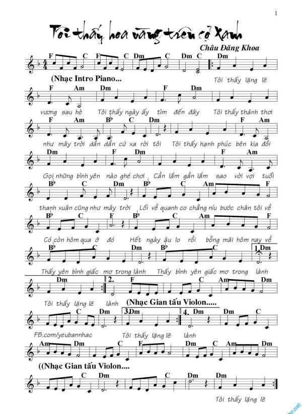 """Sheet nhạc piano bài hát """"Tôi thấy hoa vàng trên cỏ xanh"""""""